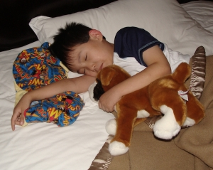 His first night with us - sleeping soundly in clean dry pajamas and covers, snuggling his new doggie and blankie