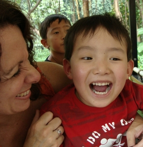 Laughing with his new Mommy at the zoo in his birth country