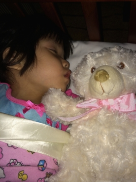 Lilyan's first night with her mommy and daddy - and her new teddy bear