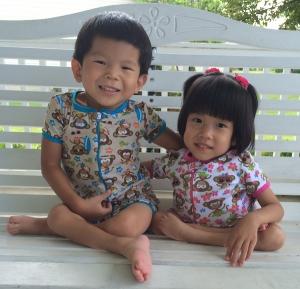 Monkey pajamas just like her brother, Jaden